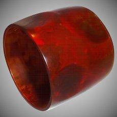EXTRA WIDE Marbled Brown Thumbprint Resin Bangle Bracelet