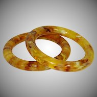 Vintage Marbled Lucite Tube Bangle Bracelets