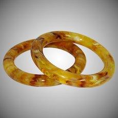 Vintage Marbled Lucite Tube Bangle Bracelets
