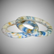 Marbled Blue, Yellow and White Lucite Tube Bangles