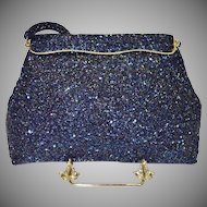 Blue Carnival Glass Beaded Bag