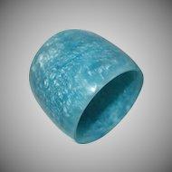 Extra WIDE Marbled Blue Resin Bangle Bracelet