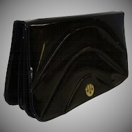 Vintage Black Patent Leather Expansion Clutch  Purse by Bonwit Teller