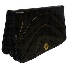 Vintage Black Patent Leather Expansion Clutch  Purse by Bonwit Teller
