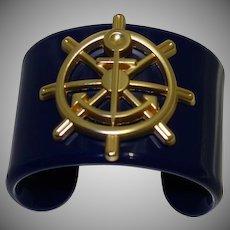 Vintage Wide Navy Blue Lucite Nautical Cuff