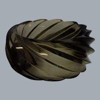 Vintage HUGE Spiral Transparent Smoke Lucite Bangle Bracelet Made in Western Germany