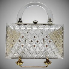 Vintage Clear Lucite Convertible Clutch with Rhinestone Accents