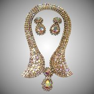 Dazzling Aurora Borealis Rhinestone Collar Necklace and Earring Set