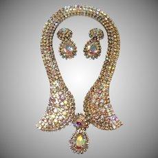Dazzling Aurora Borealis Rhinestone Collar Necklace and Earring Set