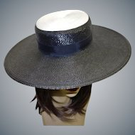 Elegant Vintage Black and White Straw Picture Hat by Bellini New Yorki