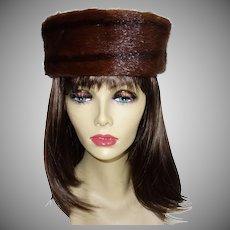 Vintage Conrad's Brown Mink Pillbox Hat