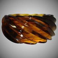Vintage HUGE Spiral Transparent Faux Tortoiseshell Lucite Bracelet Made in Western Germany