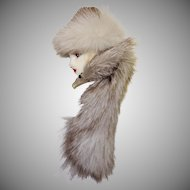 Glamorous Lady Face Pin with Fur Hat and Scarf