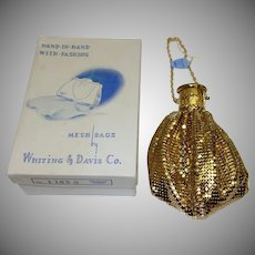 Vintage Whiting and Davis Gold Tone Mesh Gate Top Purse MINT in Original Box