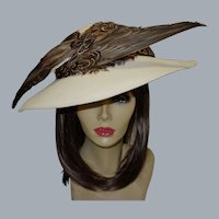 Vintage Jack McConnell Dramatic Wool and Pheasant Hat MINT with Original Tags