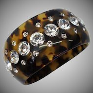 Vintage Runway Tortoiseshell Colored Lucite and Rhinestone Bracelet Made in France