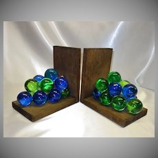 Vintage 60's Lucite Grape Cluster Bookends