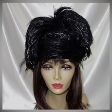 Vintage Black Feather Hat by Jack McConnell with Original Tag