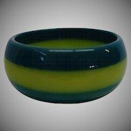 Vintage Green Laminated Lucite Bangle Bracelet
