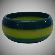 Vintage Green Laminated Lucite Bangle Bracelet