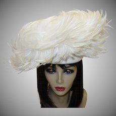 Vintage Jack McConnell Couture White Feather Hat with Original Red Feather Hang Tag