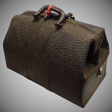 Vintage Leather Doctor's Bag with Key