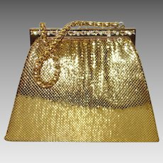 Whiting and Davis Structured Gold Tone Metal Mesh Purse with Rhinestone Accents