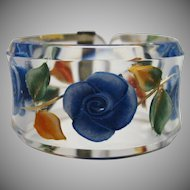 Stunning Floral Reverse Carved Lucite Bracelet Made in Paris by Jose Cotel