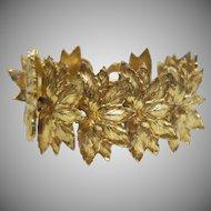 Vintage Gold Tone Metal Leaf Bracelet