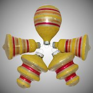 Five Vintage Yellow Mica Striped Shiny Brite Christmas Ornaments
