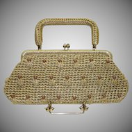 Vintage Straw Convertible Clutch Purse