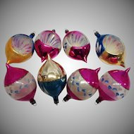 Vintage Poland Hot Pink and Blue Hand Painted Teardrop and Single Indent Christmas Ornaments