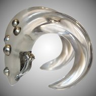 HUGE Runway Patricia Von Musulin Lucite and Sterling Silver Hoop Earrings