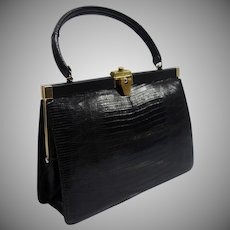 Vintage Bellestone Black Reptile Structured Purse