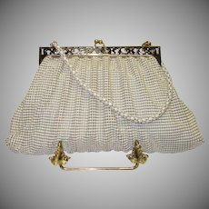 Vintage Whiting and Davis Off White Beadite Metal Mesh Purse