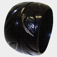 Vintage Extra WIDE Black Carved Resin Bangle Bracelet