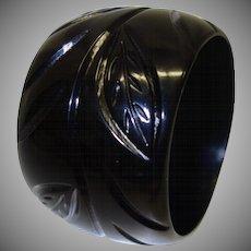 Vintage Extra WIDE Black Carved Resin Bangle Bracelet
