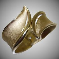 Vintage Crown Trifari Brushed Gold Tone Metal Bypass Bracelet