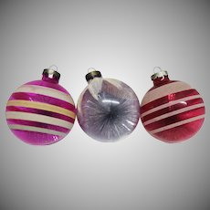 Three Large Unsilvered Christmas War Ornaments with Tinsel c. 1944-45