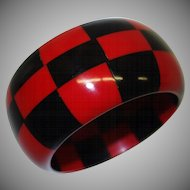Vintage WIDE Red and Black Checkered Lucite Bangle Bracelet
