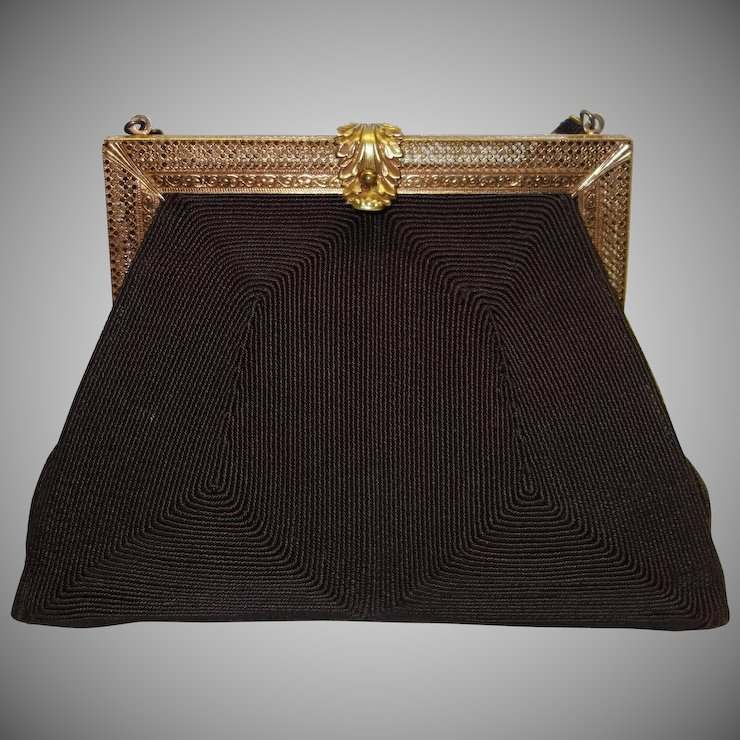 Vintage 1940 S Brown Genuine Corde Purse With Intricately Detailed Vault Ruby Lane
