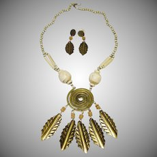 Vintage Beaded and Brass Leaf Dangle Necklace and Earring Set
