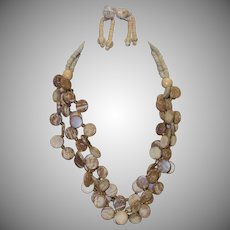 Vintage Triple Strand Tribal Wooden Disc Necklace and Earring Set