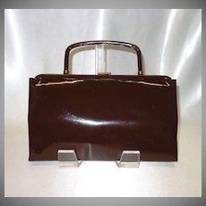 Vintage Dark Brown Vinyl Convertible Clutch Handbag by Garay