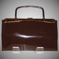 4996c1e9220b Vintage Dark Brown Vinyl Convertible Clutch Handbag by Garay. Vintage Vault