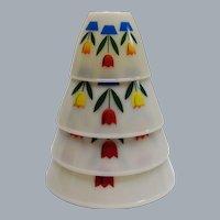 Vintage Fire King Four Piece Tulip Bowl Set