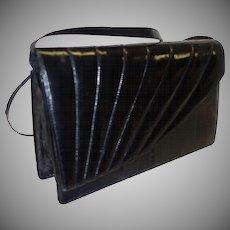 Vintage Black Eel Skin Envelope Style Convertible Shoulder Clutch Bag