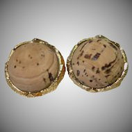 Vintage Cork and Gold Tone Metal Clip Earrings by Art