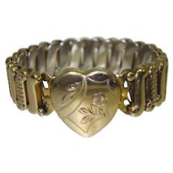 Vintage Gold Tone Metal Sweetheart Expansion Bracelet by Patricia