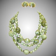 Vintage Triple Strand Marbled Green Lucite Beaded Necklace and Earring Set